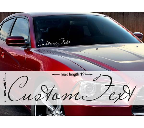 "19""max Any Custom Text Banner Windshield Stripe JDM Decal Car Vinyl Sticker"