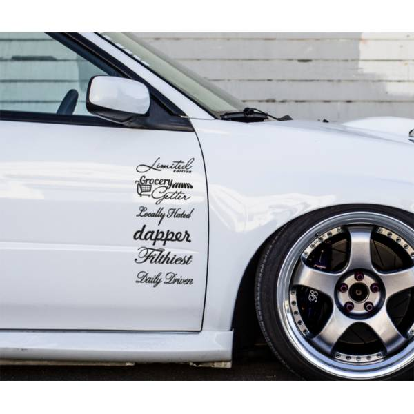 6in1 Set JDM Bomb Daily Lowered Stance Style Car Window Vinyl Sticker Decal >