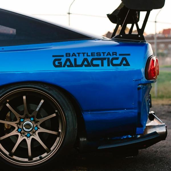 2x Pair Battlestar BS Galactica Viper Colonial Adama Blood Chrome Razor Plan Caprica Miniseries Logo TV Show Car Vinyl Sticker Decal