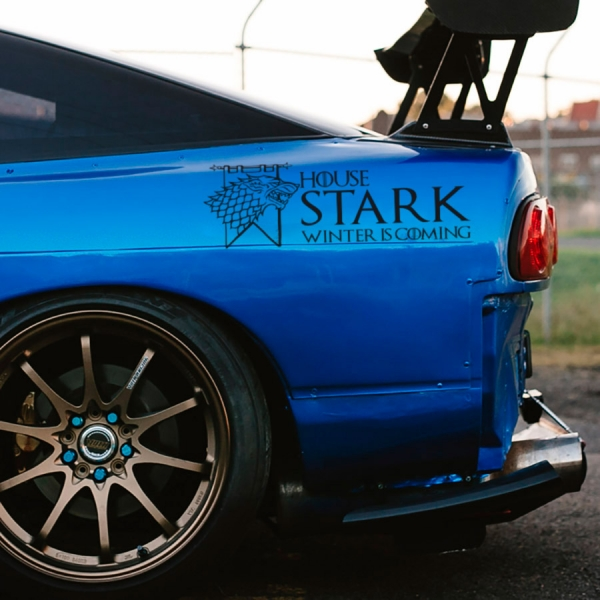 2x Pair House Stark Wolf Direwolf Winterfell North Arya Sansa Jon Snow Winter is Coming Westeros Seven Kingdoms Thrones GoT Car Vinyl Sticker Decal>