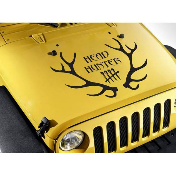 Head Hunter Hunting Deer Buck Horns Count Guns Truck Hood Vinyl Sticker Decal>