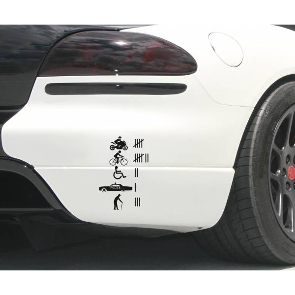 Joke Accident Count Funny Prank Hit JDM Stance Low Window Vinyl Sticker Decal >