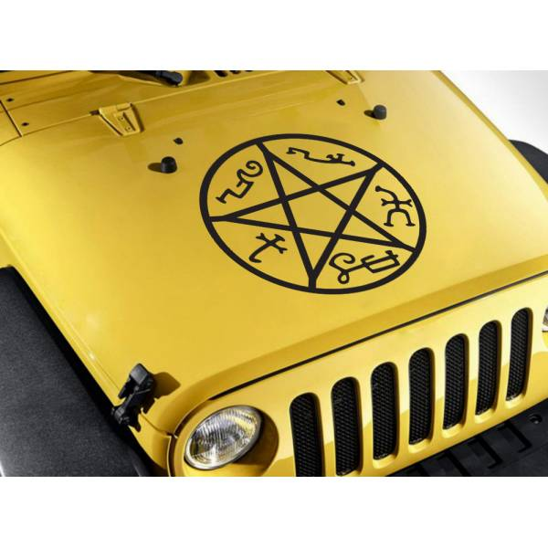 Hood Supernatural Devil's Trap Pentagram Sam Dean Winchester TV Car Vinyl Sticker Decal