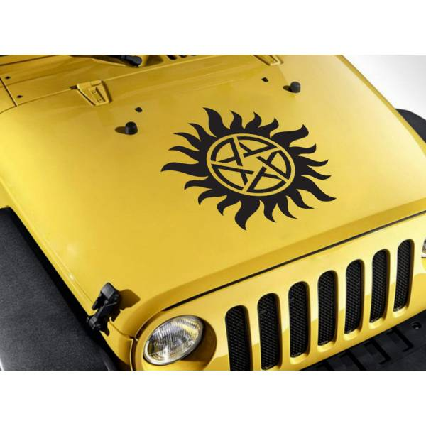 Hood Anti-Possession Pentagram Star Sam Dean Winchester Castiel Demon Angel Crawley Car Vinyl Sticker Decal>