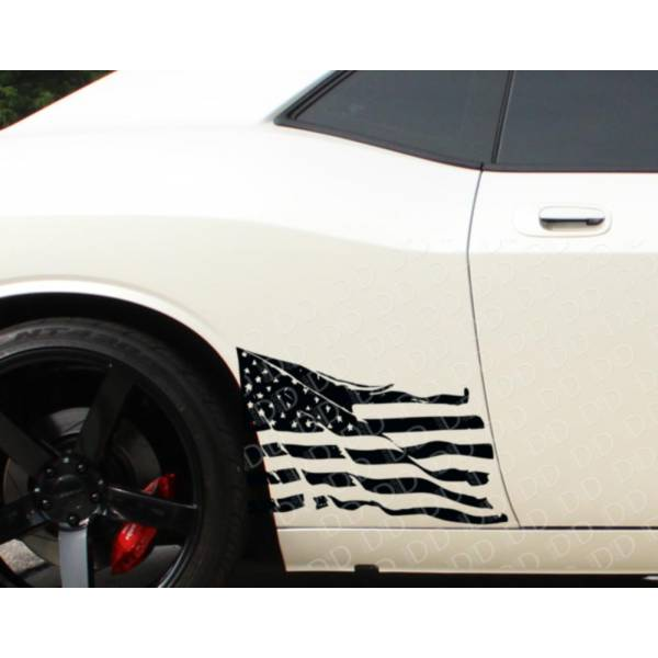 2x Side Distressed USA Military Flag Star Truck TJ CJ JK LJ Vinyl Sticker Decal