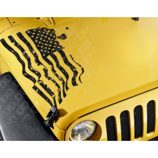 Hood Side Distressed USA Military Flag Star Truck CJ JK LJ Vinyl Sticker Decal
