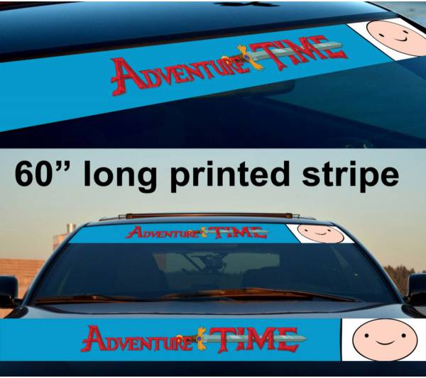 "60"" Finn the Human Adventure Time Sun Strip Printed Windshield Car Vinyl Sticker Decal"