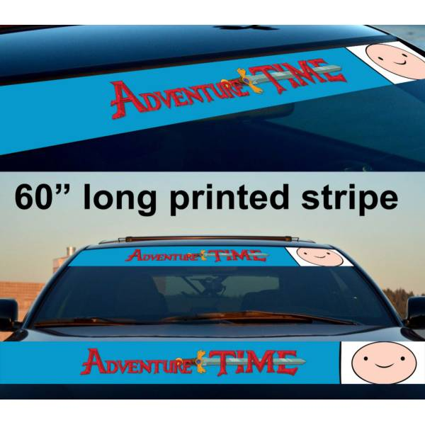 "60"" Finn the Human Adventure Time Sun Strip Printed Windshield Car Vinyl Sticker Decal"