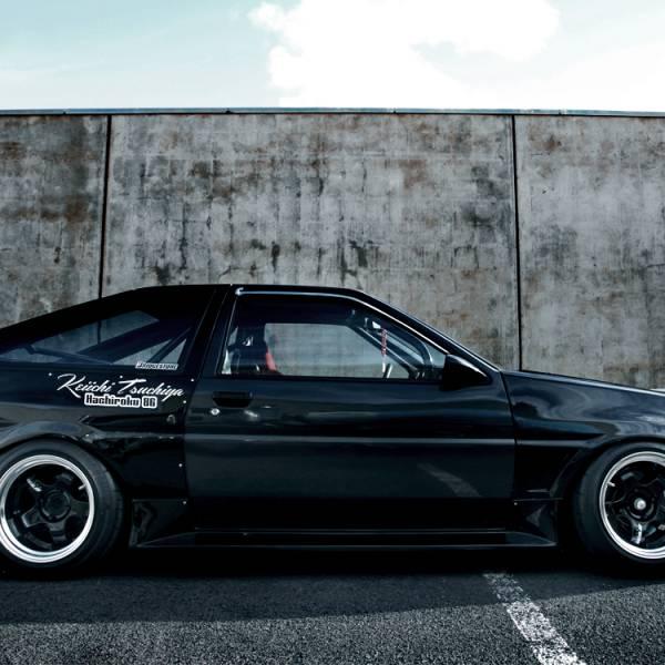 Keiichi Tsuchiya Hachiroku AE-86 Trueno Levin Kanji Rising Sun GT86 FRS Drift Racing Car Vinyl Sticker Decal>