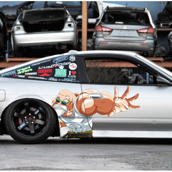 2x Pair Side Master Roshi Turtle Hermit Goku Saiyan Dragon Z Super DBZ Kai Anime Manga Printed Car Vinyl Sticker Decal>