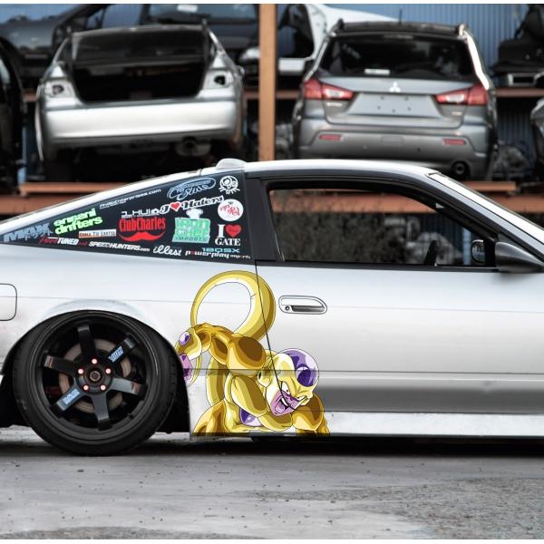 2x Pair Side Frieza v1 Golden Freezer Emperor Universe 7 Goku Saiyan Dragon Z Super DBZ Kai Anime Manga Printed Car Vinyl Sticker Decal>