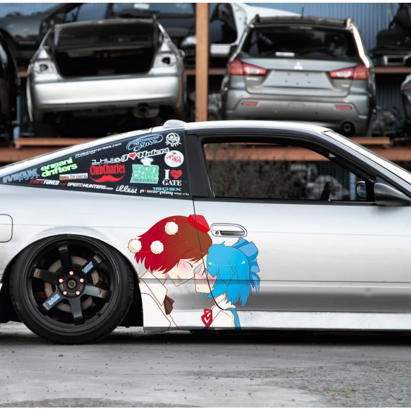 2x Pair Side Aya Shameimaru Cirno Yuri Fairy Wars Shoot Bullet Double Spoiler Touhou Project Anime Manga Hentai Girls Boobs Sexy Printed Car Vinyl Sticker Decal