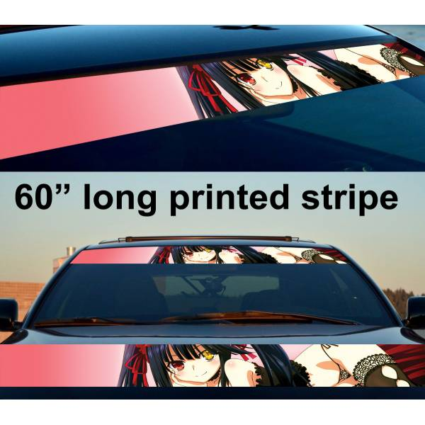 "60"" Sexy Hot Japan Anime Girl v4 Strip Printed Windshield Vinyl Sticker Decal"