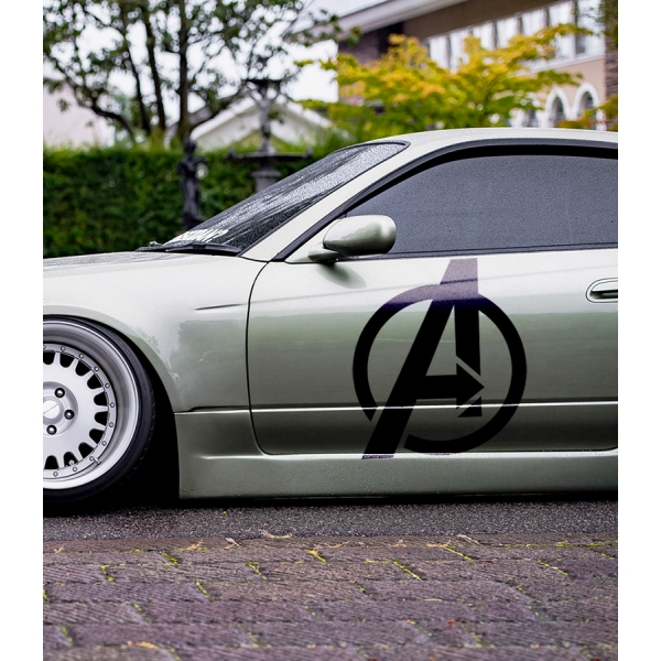 2x Pair Side Avengers Logo Sign v1 Thanos Iron Man Thor Spider-Man Hulk Captain Marvel America Widow Hood Superhero Comic Car Vinyl Sticker Decal
