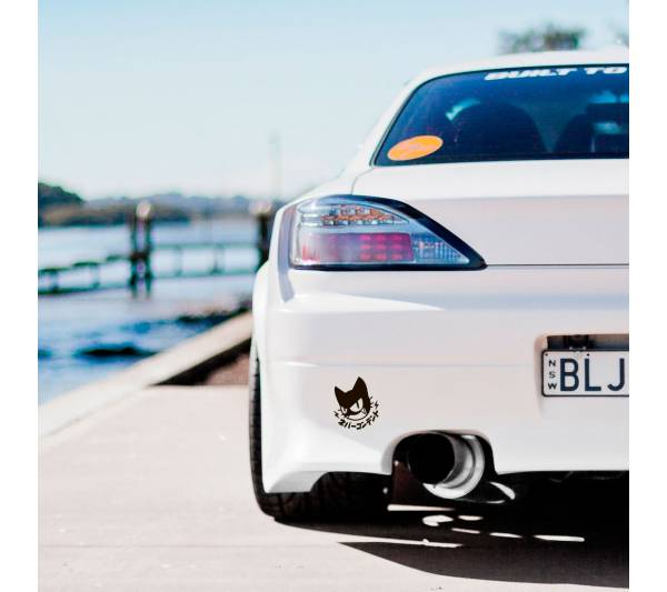 2x Pair Never Content Cat Logo Kanji Bad Luck Club Drift Racing  JDM Low Stance Tuning Car Vinyl Sticker Decal