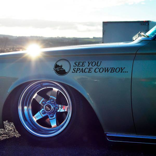 2x See You Space Cowboy v2 Bebop Spike Spiegel Faye Valentine Swordfish II MONO Racer Anime Vinyl Sticker Decal
