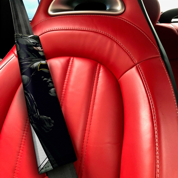 Bruce Wayne Dark Knight Justice Gotham Superhero Comic Eco Leather Printed Car Seat Belt Cover>