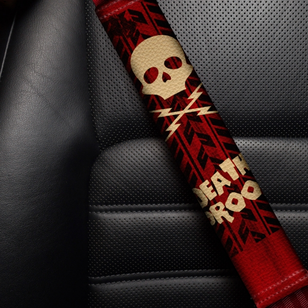 Death Proof Deathproof Skull Grindhouse TIre Lightning Bolts Eco Leather Printed Car Seat Belt Cover