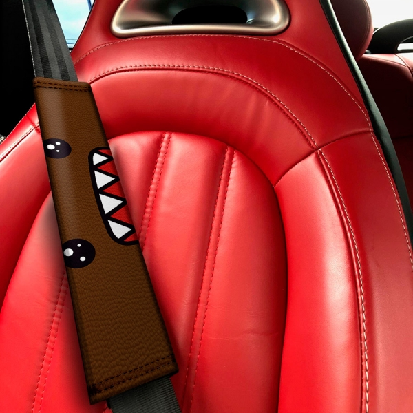 Domo Kun JDM Stance Japan Low Tuning Show Event Eco Leather Printed Car Seat Belt Cover