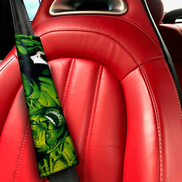 Hulk Incredible Bruce Banner Avengers Racing Strength Angry Power Superhero Comics Marvel Eco Leather Printed Car Seat Belt Cover