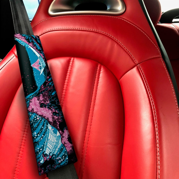 Great Wave Kanagawa JDM Stance Low Neon Style Show Event Eco Leather Printed Car Seat Belt Cover