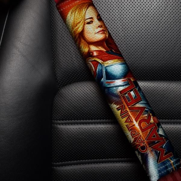Captain Marvel Star V1 Carol Danvers Kree Empire Car-Ell Avengers Girl Woman Superhero Comic Movie Eco Leather Printed Car Seat Belt Cover