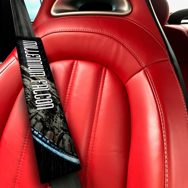 Millennium Falcon Starship Clone Han Solo Galactic Rebel Alliance Jedi Skywalker Eco Leather Printed Car Seat Belt Cover>