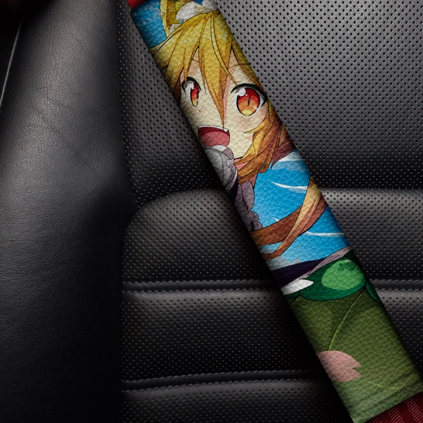 Tohru Kobayashi v3 Miss Chaos Dragon Maid Lucoa Quetzalcoatl Horns Sexy Girl Hot Boobs Eco Leather Printed Car Seat Belt Cover
