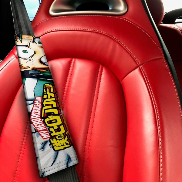My Hero Academia Izuku Midoriya Quirk Deku Katsuki Ochaco Momo Shoto Anime Manga Eco Leather Printed Car Seat Belt Cover>
