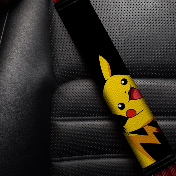 Pikachu Ash Ketchum Anime Manga Eco Leather Printed Car Seat Belt Cover>