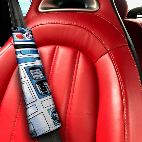 R2 D2 Droid Rebel Alliance Jedi Skywalker R2D2 Eco Leather Printed Car Seat Belt Cover>