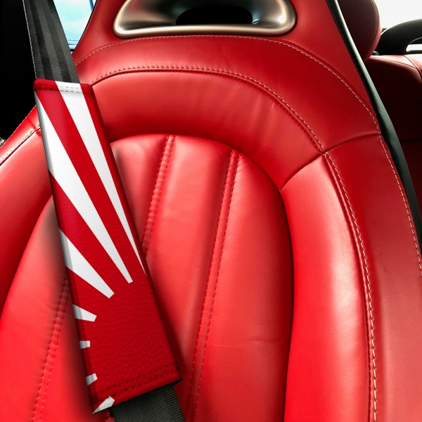 JDM Rising Sun Japan Flag Low Stance Show Event Eco Leather Printed Car Seat Belt Cover>