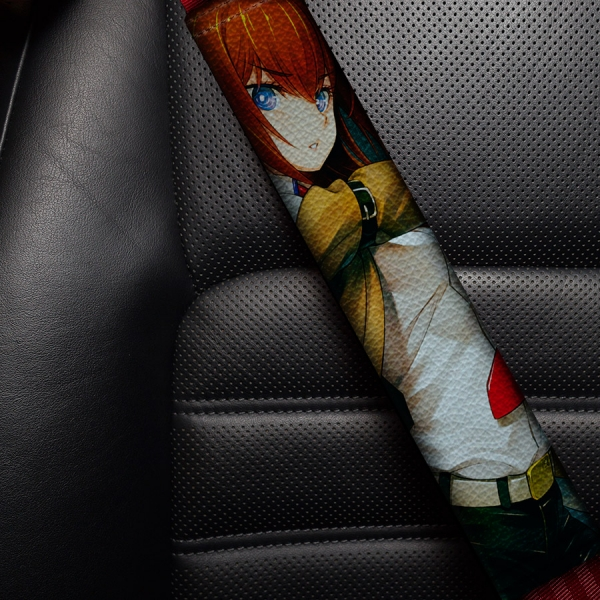 Steins Gate v1 シュタインズ ゲート Kurisu Makise Rintaro Okabe Sexy Girl Hot  Eco Leather Printed Car Seat Belt Cover