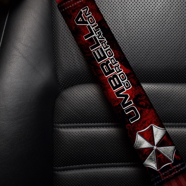 Umbrella Corporation Logo Resident Evil Zombie Outbreak Response Team Raccoon City Leon Video Game Eco Leather Printed Car Seat Belt Cover