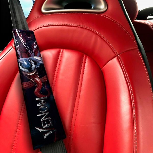 Venom Eddie Brock Movie Alien Badass Symbiote Marvel Antihero Amazing Spider-Man Eco Leather Printed Car Seat Belt Cover