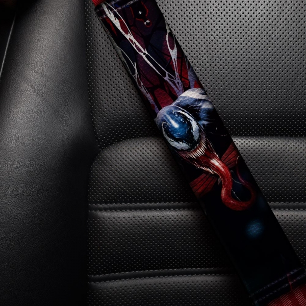 Eddie Brock Badass Symbiote Antihero Amazing Peter Parker Eco Leather Printed Car Seat Belt Cover>