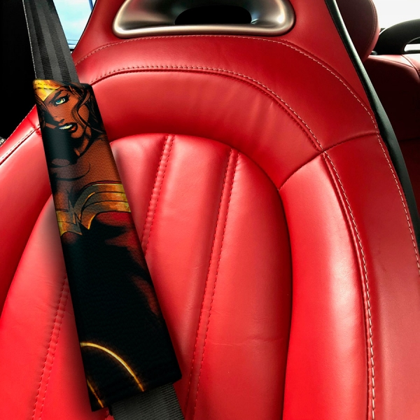 Diana Prince Lasso Woman Sexy v1 Gold  Comic Eco Leather Printed Car Seat Belt Cover>