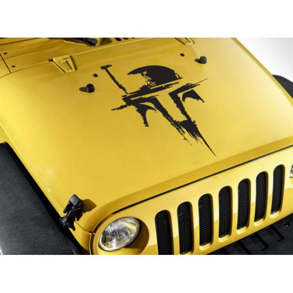 Hood Boba Distressed Helmet Bantha Bounty Hunter Clone Jedi Car Vinyl Sticker Decal>