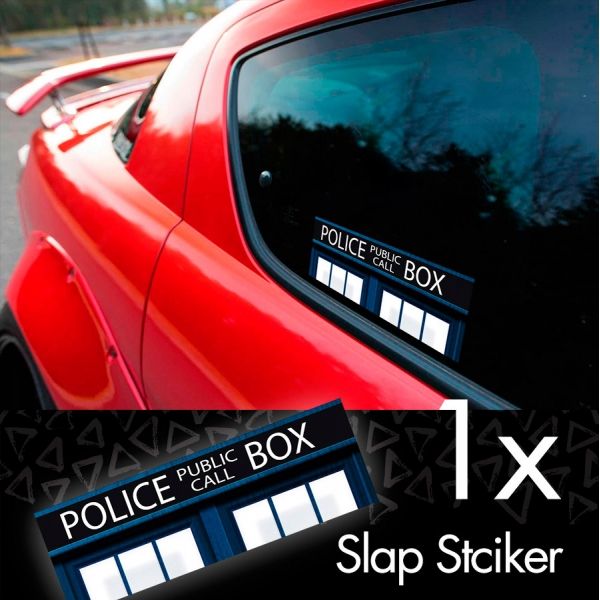 Doctor v1 Police Box Bigger Inside Tardis Dalek Printed Box Slap Bumper Car Vinyl Sticker>