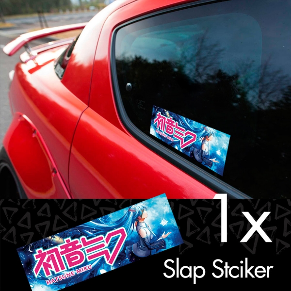 Hatsune Miku v2 Logo 初音ミク 01 Vocaloid Anime Girl Manga Sexy Hot Printed Box Slap Bumper Car Vinyl Sticker