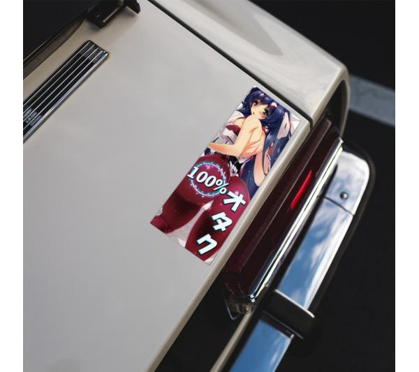 100% Otaku  オタク Weeb Anime Manga Girl Sexy Hot Boobs JDM Printed Box Slap Bumper Car Vinyl Sticker>