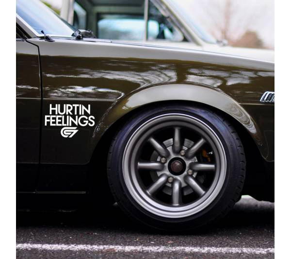 2x Hurtin Feelings Cambergang Logo v6 Camber JDM KDM Stance Tuning Rising Sun Japan Car Vinyl Sticker Decal