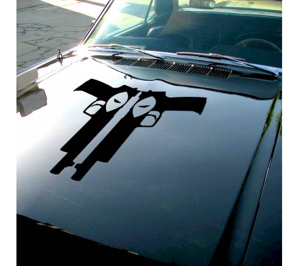 Deadpool Guns Eyes Hood Bad Badass Wilson Superhero Marvel Comics Car Vinyl Sticker Decal