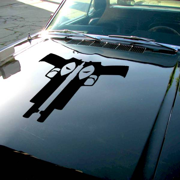 Wade Wilson Guns Eyes Hood Bad Badass Wilson Superhero Comic Car Vinyl Sticker Decal>
