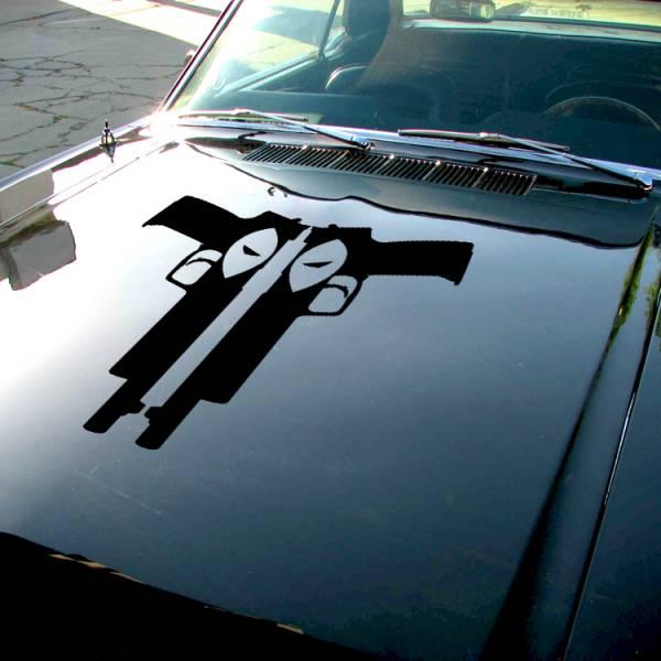 Wade Wilson Guns Eyes Hood Bad Badass Wilson Superhero  Comics Car Vinyl Sticker Decal#Deadpool