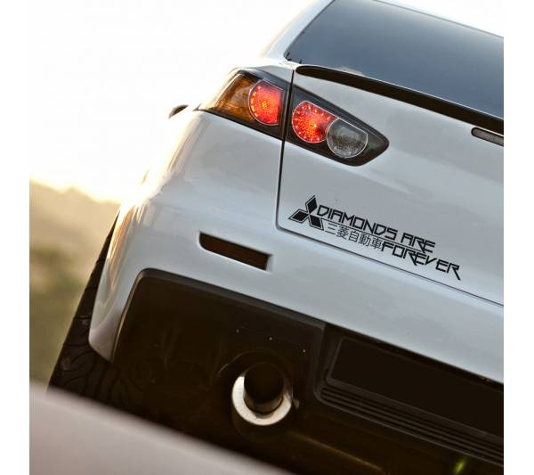 Mitsubishi Logo Forever Diamonds Funny Kanji Katakana Logo EVO Lancer Racing Rising Sun Made in Japan JDM Car Vinyl Sticker Decal
