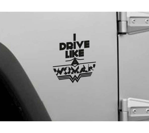 Drive Like Wonder Woman Superhero Justice Comics Girl Car Vinyl Sticker Decal