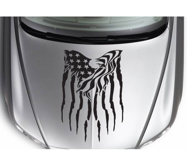 Hood Eagle 2 Wings Stars Stripes USA Military Flag Car Truck Vinyl Sticker Decal