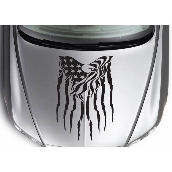 Hood Eagle 2 Wings Stars Stripes USA Military Flag Car Truck Vinyl Sticker Decal >