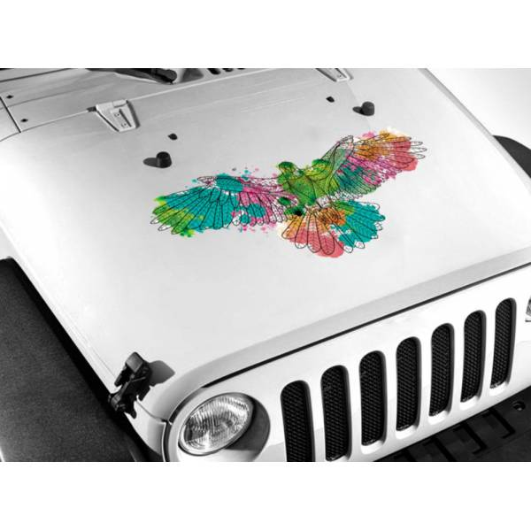 Printed Hood Eagle Paint Splash Wings USA Graphics Car Truck Vinyl Sticker Decal >